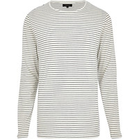 River Island MensEcru stripe long sleeve t-shirt