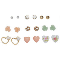 9 Pair Pretty Hearts & Flowers Earring Set