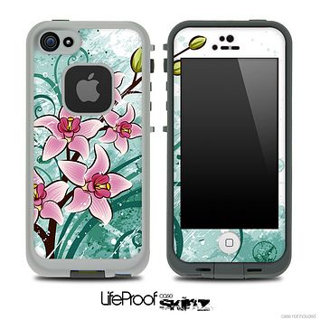 Pink & Green Watercolor Floral Skin for the iPhone 5 or 4/4s LifeProof Case