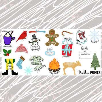 Winter Bucket List, Planner Stickers, Bucket List Stickers, To Do Stickers, holiday stickers, fun stickers, seasonal stickers (#0185)