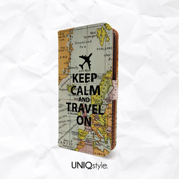 Keep Calm and Travel On PU leather case for iPhone 4/4s 5/5s 5c, MotoX, Samsung S5 Note3 - vintage map custom quote wallet flip case - L71