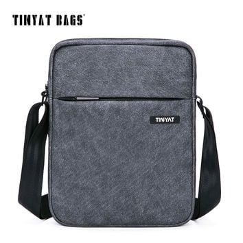 TINYAT Men's Crossbody Bag Multifunctional Men Casual Bag Quality Male Shoulder Messenger Bags Canvas Leather Handbag Gray 511