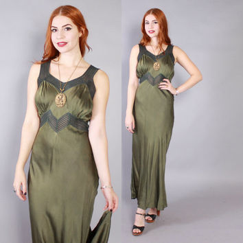 40s SILK SLIP DRESS / Vintage 1940s Hand Dyed Forest Green Bias Cut Glam Maxi Gown