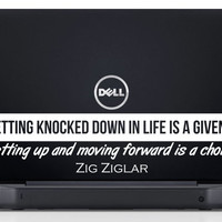 """Zig Ziglar Inspiring Laptop Decal Quote """"Getting knocked down in life is a given... getting up and moving forward is a choice"""" 9 x 2.1 inch"""