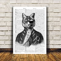 Pirate cat poster Animal art Modern decor Dictionary print RTA32