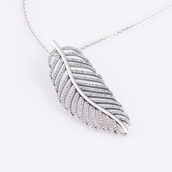 Authentic 925 Sterling Silver Light as a Feather Pendant with Clear Micro Pave Zirconi