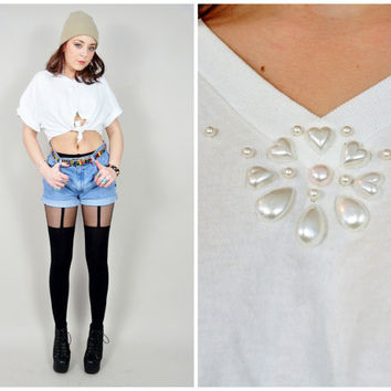 VINTAGE 80s pearls & heart beaded studded white cotton knit tie crop tshirt grunge kawaii top