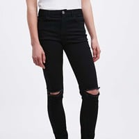 BDG Mid-Rise Cigarette Rip Knee Jeans in Black - Urban Outfitters