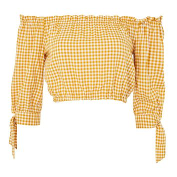 **Gingham Crop Bardot Top by Nobody's Child - Tops - Clothing