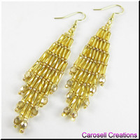 Bugle Girl Beadwork Dangle Chandelier Seed Bead Earrings in Gold