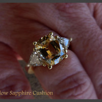 Incredible cushion cut yellow sapphire ring by Kay Knight Designs