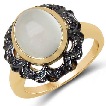 14K Yellow Gold Plated 3.04 Carat Genuine White Moonstone & Black Diamond .925 Sterling Silver Ring