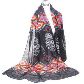 Black multi color geometric skull scarf aztec tribal shawl nice quality free shipping