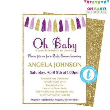 Purple and Gold Baby Shower Invitation Template Girl, Printable Invitation, Oh Baby Invite, Editable Baby Shower Invitation, Custom, TASPRP
