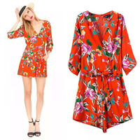 Stylish Deep V Half-sleeve Shaped Slim Print Romper [6315446465]