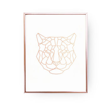 Tiger Print, Geometric Tiger, Tiger Art, Rose Gold Foil, Tiger Wall Art, Animal Poster, Nursery Print, Animal Decor, Bedroom Art,11x17 print