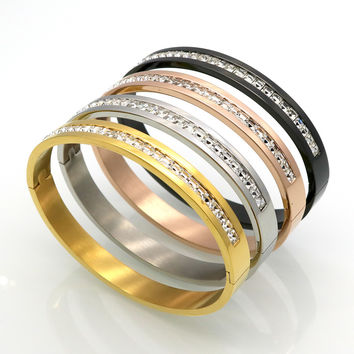 Fashion Costume Couples Jewelry Stainless Steel Lover Bracelets & Bangles Gift For Women Men Square Silver Color Crystal