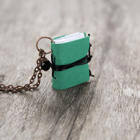 Leather miniature book necklace, mini book jewelry, book lover literature gift, small tiny pendant, eco friendly necklace - green