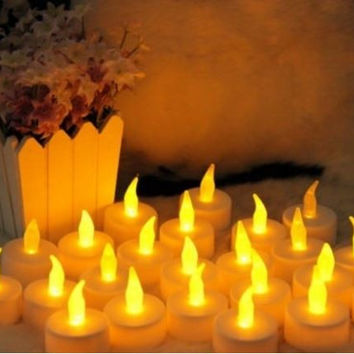 12PCS Flicker Light LED Tealight Yellow Candles Home Dinner Room Party Wedding Decor