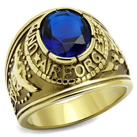 Gold Stainless Steel USA Air Force USAF Military Blue Ring