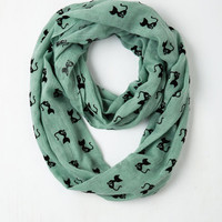 Cats Cat Person Circle Scarf in Mint by ModCloth
