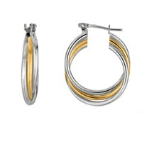 Sterling Silver Yellow Tone And Rhodium Shiny Finish Triple Row Tube Round Hoop Earrings  - 30 mm Diameter