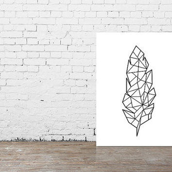 Feather Origami Print Poster// Black and White Home Decor Print // Minimalistic Wall Art