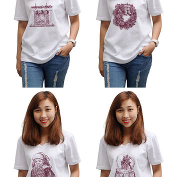 Women Christmas hand drawn set Printed Short Sleeve T-shirt WTS_16