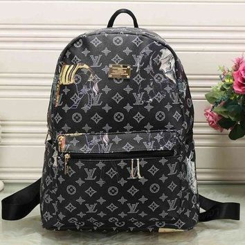 DCCKON Perfect LV Louis Vuitton Pattern Leather Travel Bag Backpack