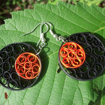 Halloween Eco-Friendly Paper Quilled Earrings - Black and Orange Filigree - quilling jewelry, paper earrings, quilling earrings, costume