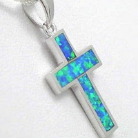 INLAY OPAL IN 925 STERLING SILVER CROSS PENDANT CHARM