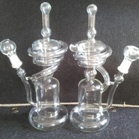Unique spiral designed 10.5 inch recycler glass bong,two functions Glass Recycler,green glass bong, selling glass water pipes 14.4mm