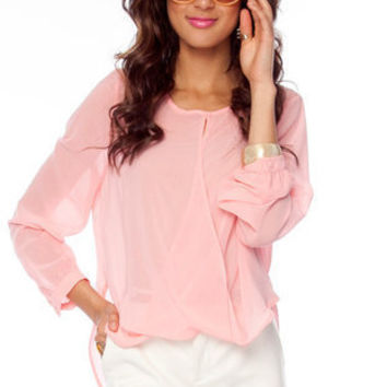 Let's Do the Twist Blouse in Pink :: tobi