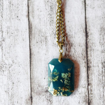 Faceted Geometric Necklace - Teal And Gold Pendant - Deep Sea Resin Pendant With Gold Flakes - Resin Jewelry