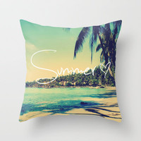Summer Love Vintage Beach Throw Pillow by RexLambo | Society6