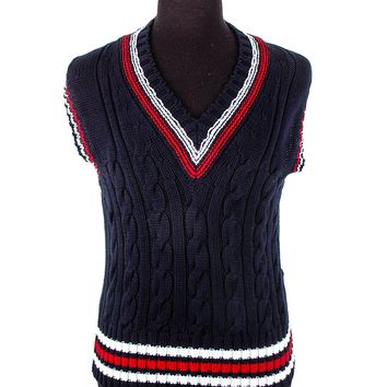 Brooks Brothers Black Fleece Navy, Red and White Sweater Vest