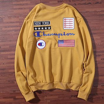 Champion 2019 new embroidered multi-standard round neck long-sleeved sweater Khaki