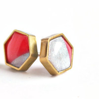 Silver and Coral Octagon Earrings