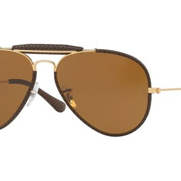 Ray Ban RB3422Q 9041 Aviator Brown Leather Frame Brown B15 58mm Lens Sunglasses