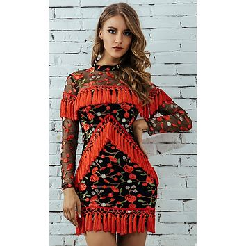 Breaking Away Black Red Rose Floral Pattern Sheer Mesh Long Sleeve Mock Neck Fringe Bodycon Mini Dress