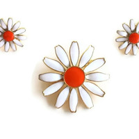 Daisy Brooch Earrings Set Enamel