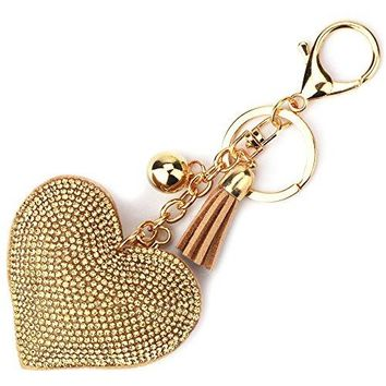 Elesa Miracle Girl Women Love Heart Tassel Keychain, Purse Bag Charm, Handbag Accessories, Car Key Chain