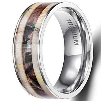 CERTIFIED 8mm Titanium Rings Deer Antler Camo Inlaid