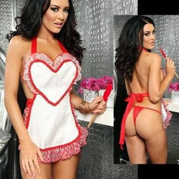 3WISHES Women's Sweetheart Chef Sexy Bedroom Lingerie Apron Set