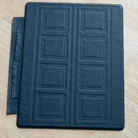 TARDIS iPad 3 smart cover, River Song's Journal -- blue with white stitching and ink emboss