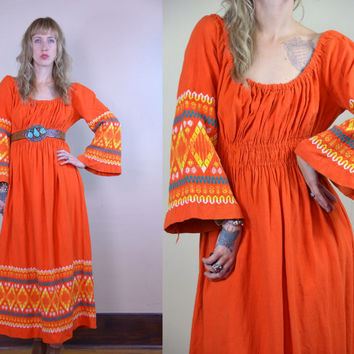 Vintage 70's Harvest Orange Guatemalan Bohemian Embroidered Tribal Oaxacan Dress
