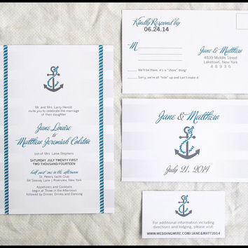 Striped Nautical Wedding Invitation Set by RunkPock Designs : Rope Anchor Beach Script Calligraphy Wedding Suite shown in Dark Teal and Gray