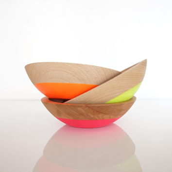 Snack Bowl Trio, Neon Color Dipped