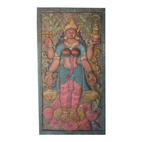 Vintage Carved Lakshmi Hindu Goddess of Wealth Barn Door Colorful Wall Panel Relief