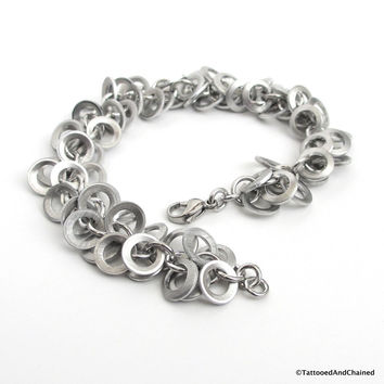 Upcycled chainmaille bracelet, brushed aluminum shaggy loops weave